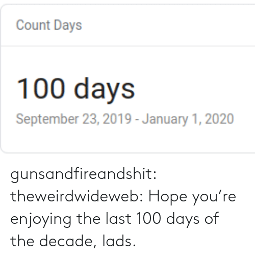 Hope: gunsandfireandshit: theweirdwideweb:  Hope you're enjoying the last 100 days of the decade, lads.