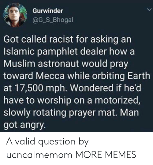 Muslim: Gurwinder  @G_S_Bhogal  Got called racist for asking an  Islamic pamphlet dealer how a  Muslim astronaut would pray  toward Mecca while orbiting Earth  at 17,500 mph. Wondered if he'd  have to worship on a motorized,  slowly rotating prayer mat. Man  got angry. A valid question by ucncalmemom MORE MEMES