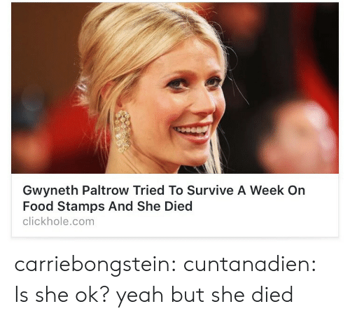 Yeah But: Gwyneth Paltrow Tried To Survive A Week On  Food Stamps And She Died  clickhole.com carriebongstein:  cuntanadien:  Is she ok?  yeah but she died