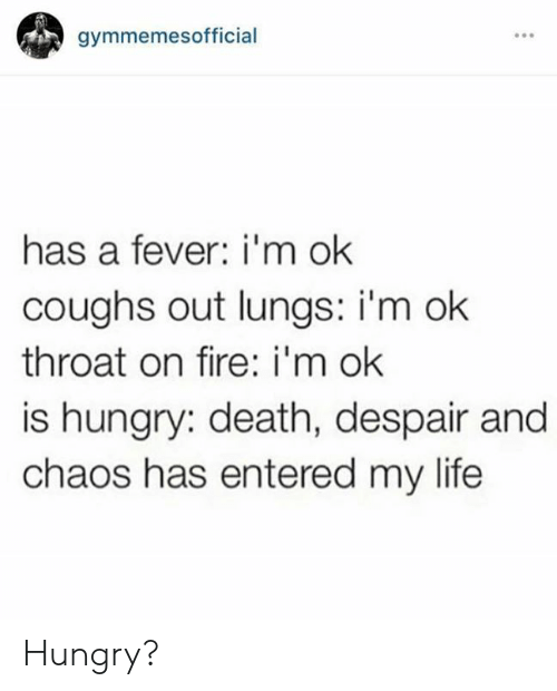 Im Ok: gymmemesofficial  has a fever: i'm ok  coughs out lungs: i'm ok  throat on fire: i'm ok  is hungry: death, despair and  chaos has entered my life Hungry?