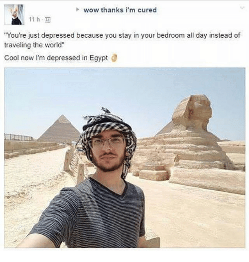"Egyption: h wow thanks i'm cured  11 h,  You're just depressed because you stay in your bedroom all day instead of  traveling the world""  Cool now I'm depressed in Egypt d"