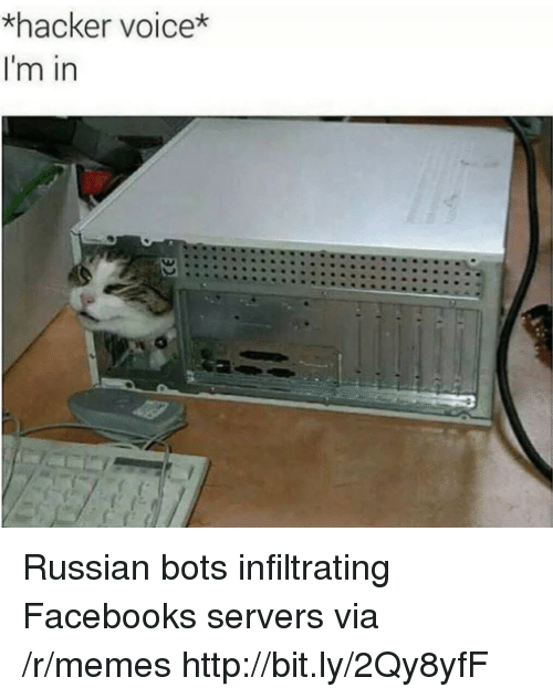bots: *hacker voice*  I'm in Russian bots infiltrating Facebooks servers via /r/memes http://bit.ly/2Qy8yfF