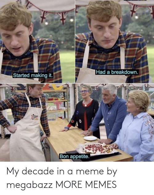 A Meme: |Had a breakdown.  Started making it.  Bon appetite. My decade in a meme by megabazz MORE MEMES