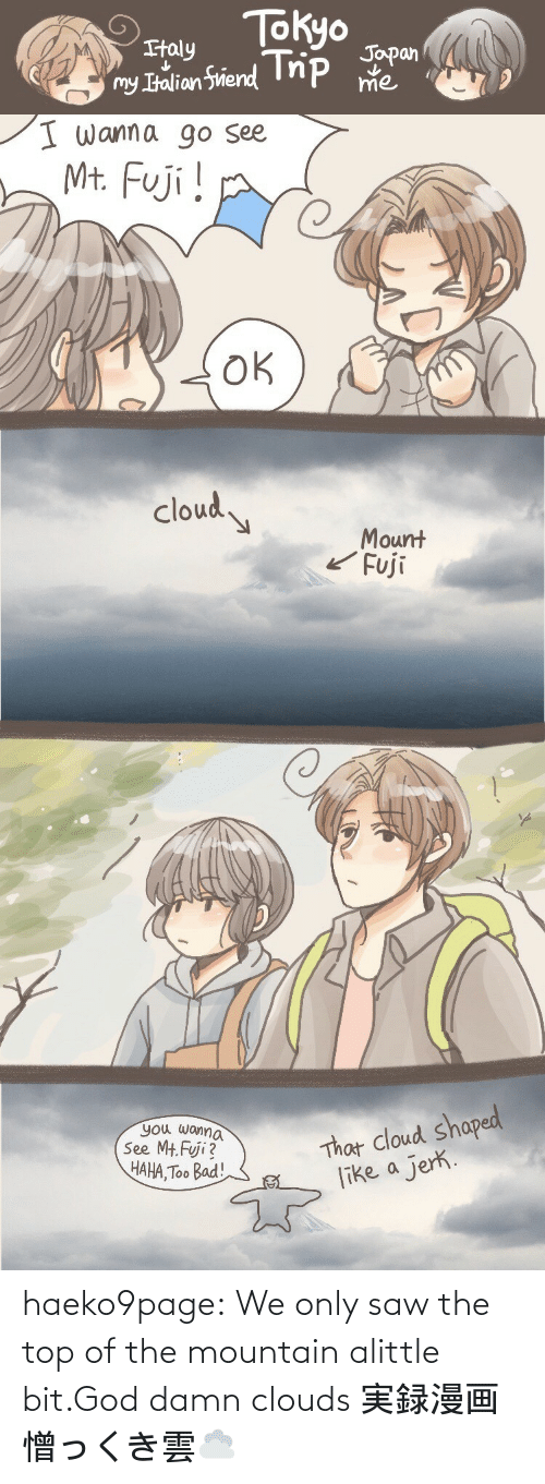 clouds: haeko9page:  We only saw the top of the mountain alittle bit.God damn clouds 実録漫画憎っくき雲☁️