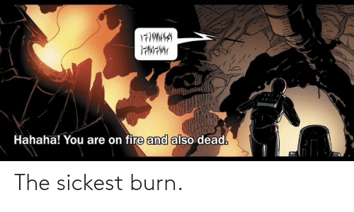 on fire: Hahaha! You are on fire and also dead. The sickest burn.