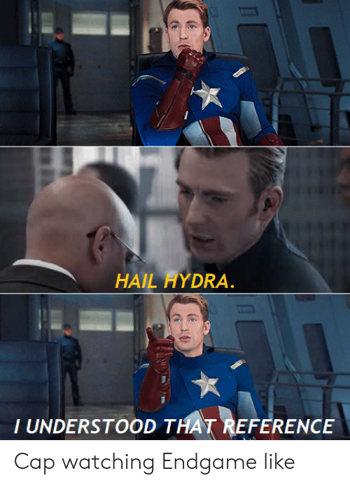 Hydra, Endgame, and Cap: HAIL HYDRA.  T UNDERSTOOD THAT REFERENCE Cap watching Endgame like