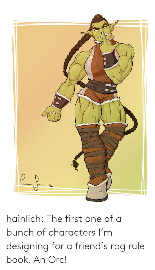 Bunch: hainlich:  The first one of a bunch of characters I'm designing for a friend's rpg rule book. An Orc!