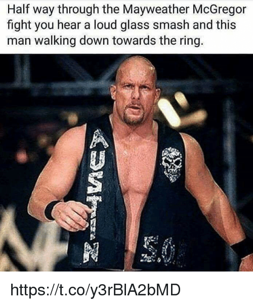 glassing: Half way through the Mayweather McGregor  fight you hear a loud glass smash and this  man walking down towards the ring. https://t.co/y3rBlA2bMD