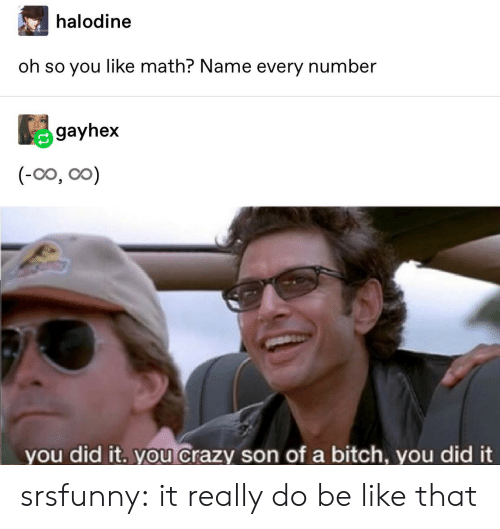 Be Like, Bitch, and Crazy: halodine  oh so you like math? Name every number  gayhex  (-0o, oo)  you did it. you crazy son of a bitch, you did it srsfunny:  it really do be like that