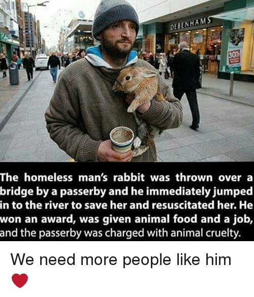 resuscitation: HAM  ENH  The homeless man's rabbit was thrown over a  bridge by a passerby and he immediately jumped  in to the river to save her and resuscitated her. He  won an award, was given animal food and a job,  and the passerby was charged with animal cruelty We need more people like him ❤