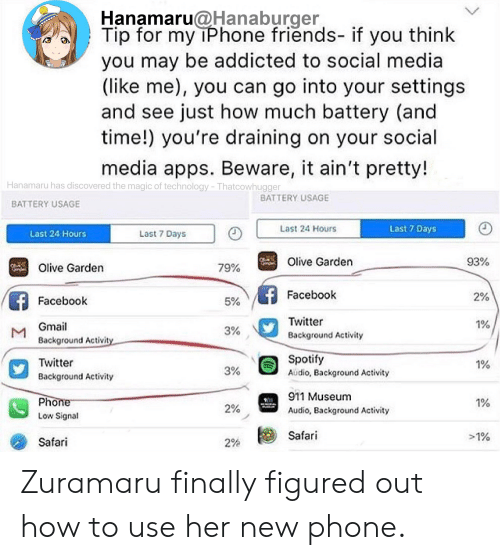 Facebook, Friends, and Iphone: Hanamaru@Hanaburger  Tip for my iPhone friends- if you think  you may be addicted to social media  (like me), you can go into your settings  and see just how much battery (and  time!) you're draining on your social  www.  media apps. Beware, it ain't pretty!  Hanamaru has discovered the magic of technology -Thatcowhugger  BATTERY USAGE  BATTERY USAGE  Last 7 Days  Last 24 Hours  Last 7 Days  Last 24 Hours  93%  Olive Garden  79%  Olive Garden  Facebook  2%  Facebook  5%  Twitter  1%  Gmail  M  Background Activity  3%  Background Activity  Spotify  Twitter  1%  3%  Audio, Background Activity  Background Activity  911 Museum  Phone  1%  2%  Audio, Background Activity  Low Signal  Safari  >1%  Safari  29% Zuramaru finally figured out how to use her new phone.