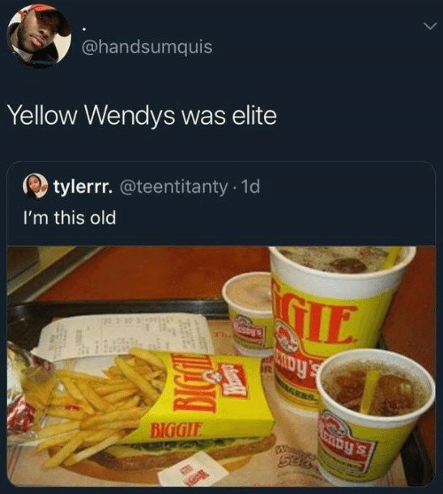 biggie: @handsumquis  Yellow Wendys was elite  tylerrr. @teentitanty 1d  I'm this old  IE  BIGGIE