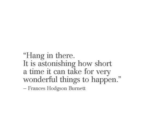 """There It Is: """"Hang in there.  It is astonishing how short  a time it can take for very  wonderful things to happen.""""  22  - Frances Hodgson Burnett"""