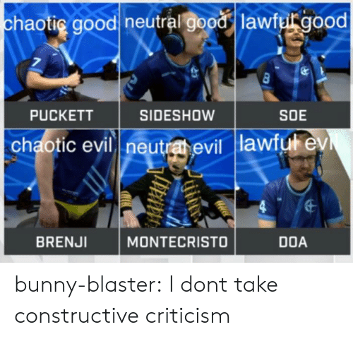 Tumblr, Blog, and Good: haotig goodl neutralす0081 lawfu good  PUCKETT  SIDESHOW  SOE  chaotic evil neutra evil lawiut ev  BRENJI  MONTECRISTO  DOA bunny-blaster:  I dont take constructive criticism