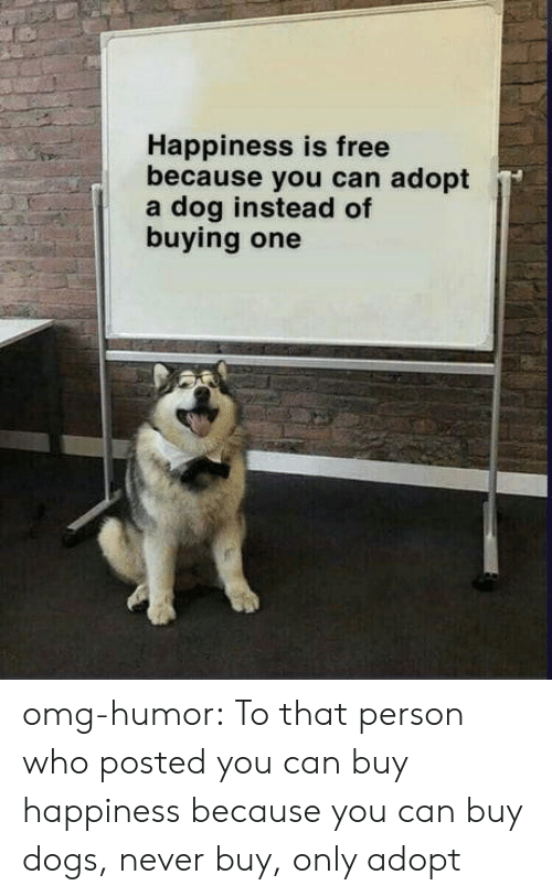 Dogs, Omg, and Tumblr: Happiness is free  because you can adopt  a dog instead of  buying one omg-humor:  To that person who posted you can buy happiness because you can buy dogs, never buy, only adopt