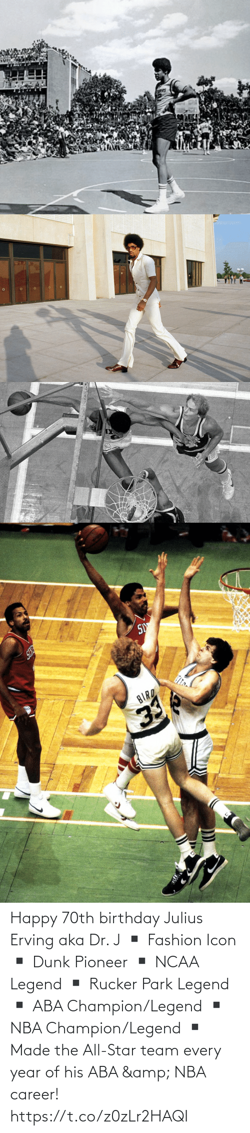 Dr: Happy 70th birthday Julius Erving aka Dr. J  ▪️ Fashion Icon ▪️ Dunk Pioneer ▪️ NCAA Legend ▪️ Rucker Park Legend ▪️ ABA Champion/Legend ▪️ NBA Champion/Legend ▪️ Made the All-Star team every year of his ABA & NBA career! https://t.co/z0zLr2HAQI