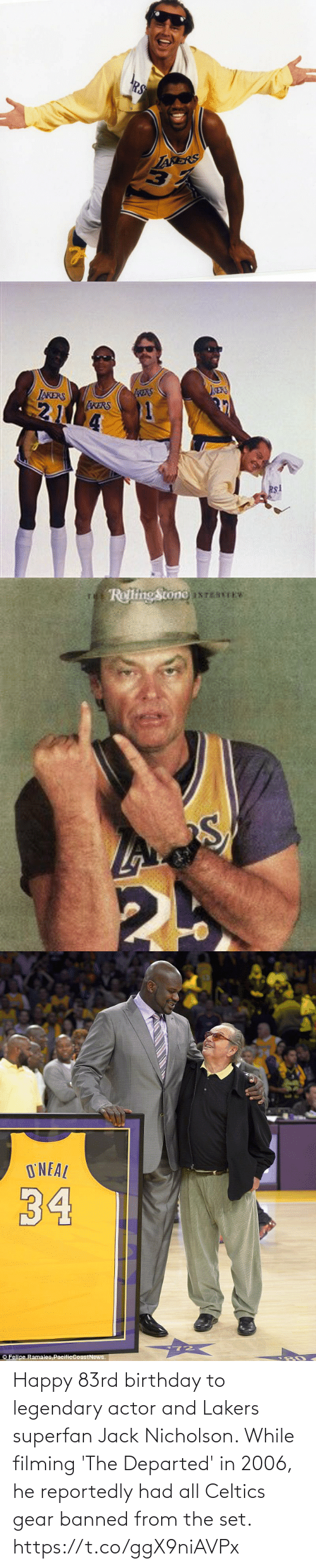 Banned: Happy 83rd birthday to legendary actor and Lakers superfan Jack Nicholson.   While filming 'The Departed' in 2006, he reportedly had all Celtics gear banned from the set. https://t.co/ggX9niAVPx