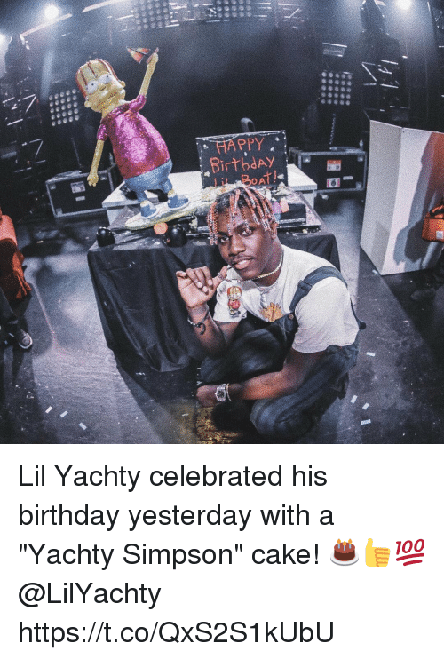 """Caking: HAPPY  BirbdAY  OA Lil Yachty celebrated his birthday yesterday with a """"Yachty Simpson"""" cake! 🎂👍💯 @LilYachty https://t.co/QxS2S1kUbU"""