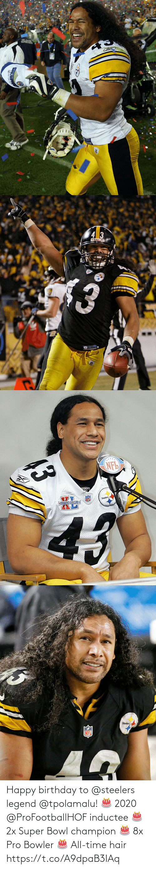Happy Birthday: Happy birthday to @steelers legend @tpolamalu! 🎂 2020 @ProFootballHOF inductee 🎂 2x Super Bowl champion 🎂 8x Pro Bowler 🎂 All-time hair https://t.co/A9dpaB3IAq