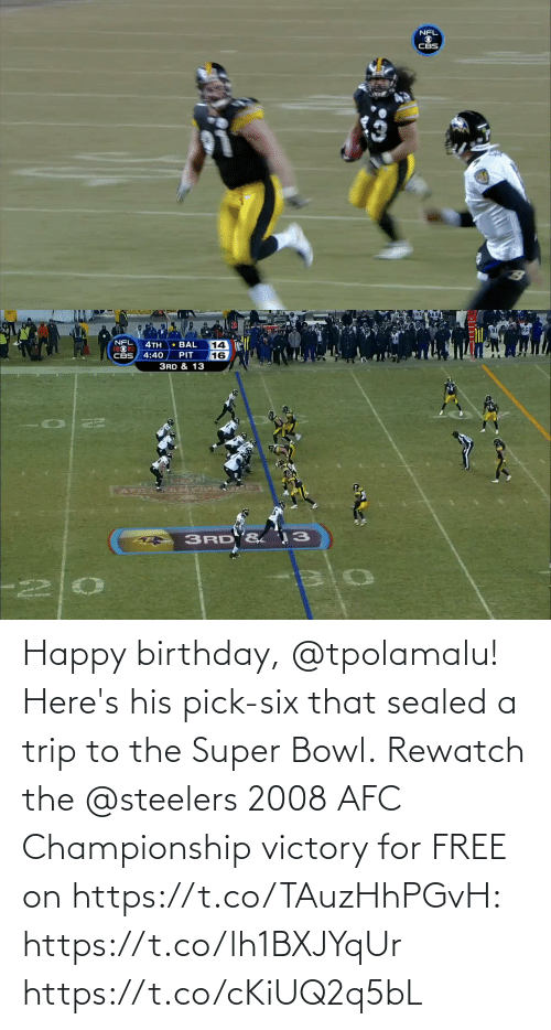 Steelers: Happy birthday, @tpolamalu! Here's his pick-six that sealed a trip to the Super Bowl.  Rewatch the @steelers 2008 AFC Championship victory for FREE on https://t.co/TAuzHhPGvH: https://t.co/lh1BXJYqUr https://t.co/cKiUQ2q5bL