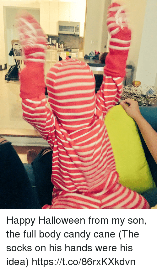 Candy, Candy Cane, and Halloween: Happy Halloween from my son, the full body candy cane  (The socks on his hands were his idea) https://t.co/86rxKXkdvn