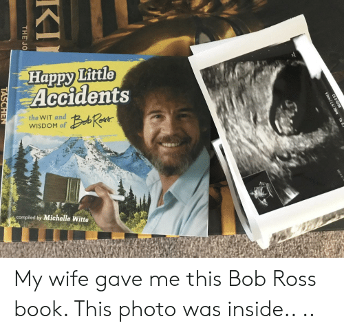 Bob Ross, Book, and Happy: Happy Little  Accidents  the WIT and  WISDOM of  compiled by Michelle Witte My wife gave me this Bob Ross book. This photo was inside.. ..