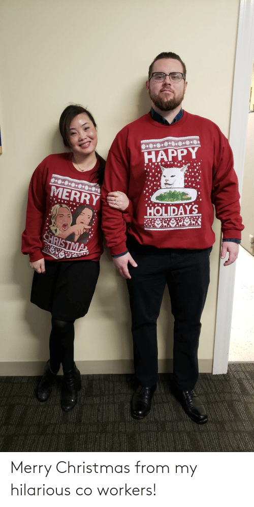 Workers: HAPPY  .*********  MERRY  HOLIDAYS  CHRISTMA Merry Christmas from my hilarious co workers!