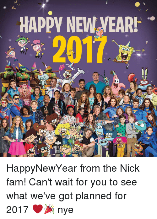 The Nick: HAPPY NEW yEAR! HappyNewYear from the Nick fam! Can't wait for you to see what we've got planned for 2017 ❤️🎉 nye