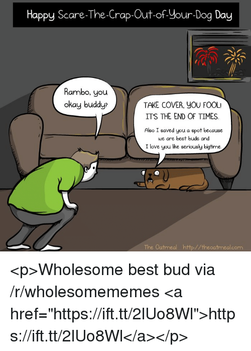 "Rambo: Happy Scare-The-Crap-Out-of Your-Dog Day  Rambo, you  okay buddyr  TAKE COVER, YOU FOOL  ITS THE END OF TIMES  Also I saved you a spot because  we are best buds and  I love you lke seriously bigtime.  The Oatmeal http//theoatmeal.com <p>Wholesome best bud via /r/wholesomememes <a href=""https://ift.tt/2lUo8Wl"">https://ift.tt/2lUo8Wl</a></p>"