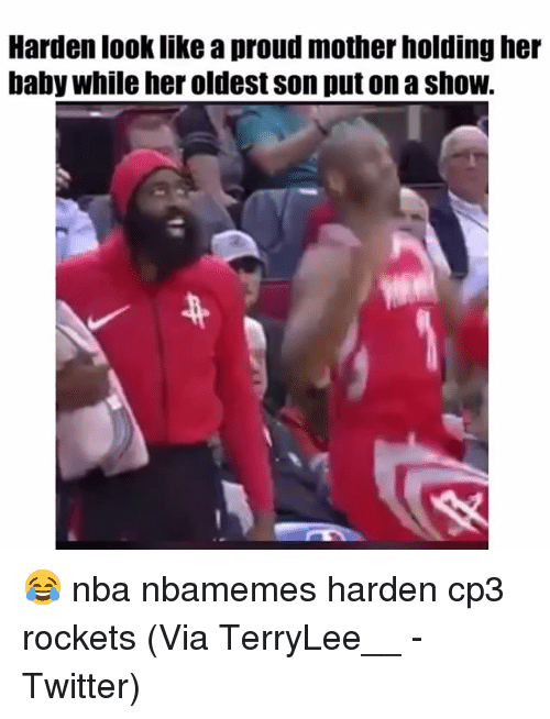 cp3: Harden look like a proud mother holding her  baby while her oldest son put on a shoW. 😂 nba nbamemes harden cp3 rockets (Via TerryLee__ -Twitter)