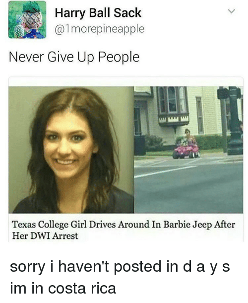 Pineappl: Harry Ball Sack  almore pineapple  Never Give Up People  Texas College Girl Drives Around In Barbie Jeep After  Her DWI Arrest sorry i haven't posted in d a y s im in costa rica