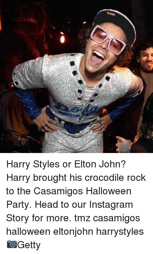 Halloween, Head, and Instagram: Harry Styles or Elton John? Harry brought his crocodile rock to the Casamigos Halloween Party. Head to our Instagram Story for more. tmz casamigos halloween eltonjohn harrystyles 📷Getty