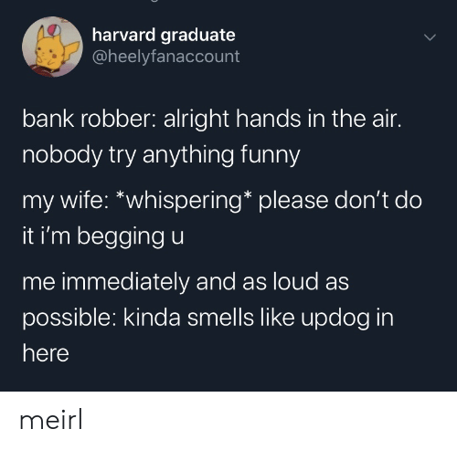 Smells Like: harvard graduate  @heelyfanaccount  bank robber: alright hands in the air.  nobody try anything funny  my wife: *whispering* please don't do  it i'm begging u  me immediately and as loud as  possible: kinda smells like updog in  here meirl