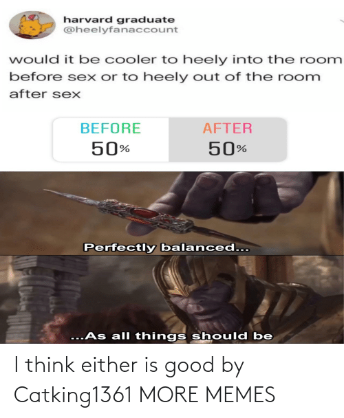 before after: harvard graduate  @heelyfanaccount  would it be cooler to heely into the room  before sex or to heely out of the room  after sexX  BEFORE  AFTER  50%  50%  Perfectly balanced...  ...As all things should be I think either is good by Catking1361 MORE MEMES