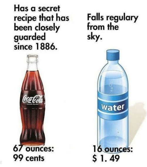 Coca-Cola, Water, and Been: Has a secret  recipe that has  been closely  guarded  since 1886  Falls regulary  from the  sky  Coca-Cola  water  67 Ounces:  99 cents  16 ounces:  $1. 49