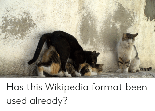 Wikipedia, Dank Memes, and Been: Has this Wikipedia format been used already?