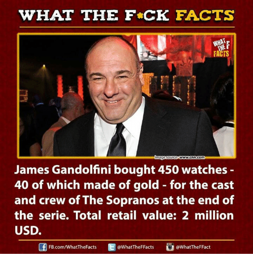 cnn.com, Dank, and Facts: HAT THE FCK FACTS  FACTS  magesource  WWW.Cnn com  James Gandolfini bought 450 watches  40 of which made of gold for the cast  and crew of The Sopranos at the end of  the serie. Total retail value: 2 million  USD.  @WhatTheFFacts  @WhatTheF Fact  FB.com/What'TheFacts