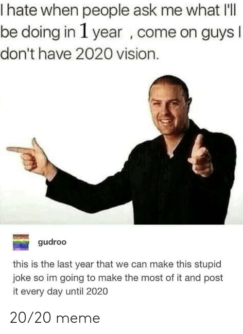 Vision: hate when people ask me what IlI  be doing in 1 year , come on guys  I  don't have 2020 vision.  gudroo  this is the last year that we can make this stupid  joke so im going to make the most of it and post  it every day until 2020 20/20 meme