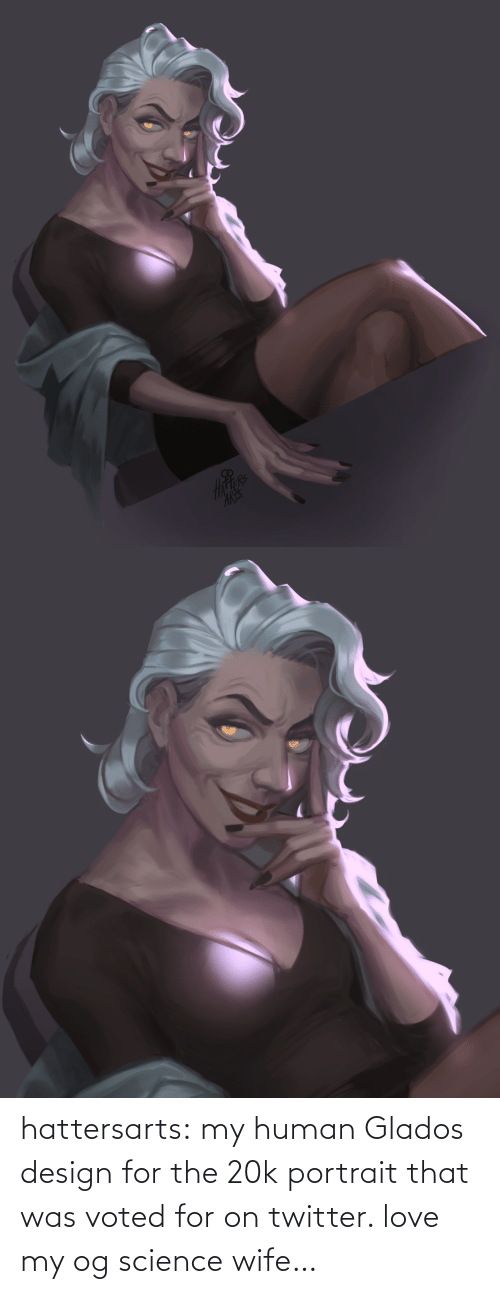 Voted: hattersarts:    my human Glados design for the 20k portrait that was voted for on twitter. love my og science wife…