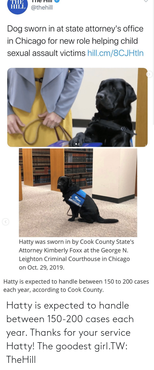 handle: Hatty is expected to handle between 150-200 cases each year. Thanks for your service Hatty! The goodest girl.TW: TheHill