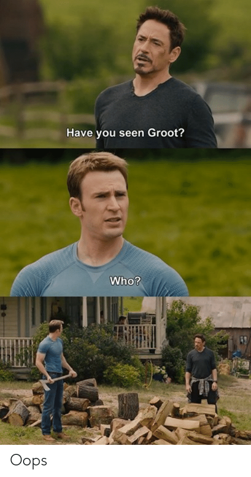 Dank, 🤖, and Who: Have you seen Groot?  Who? Oops