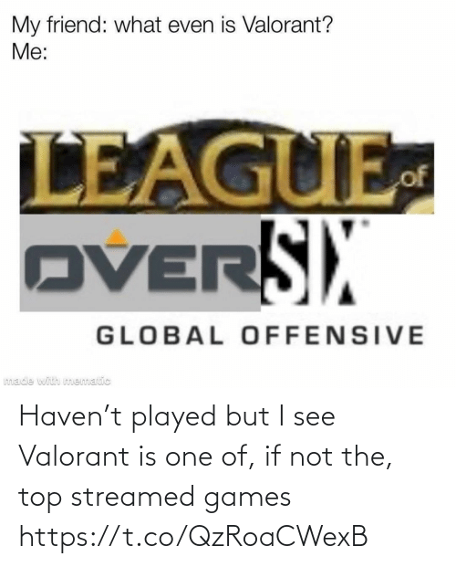 top: Haven't played but I see Valorant is one of, if not the, top streamed games https://t.co/QzRoaCWexB