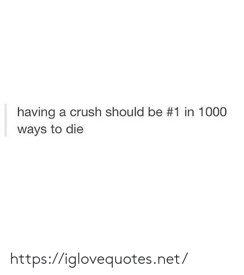 A Crush: having a crush should be #1 in 1000  ways to die https://iglovequotes.net/
