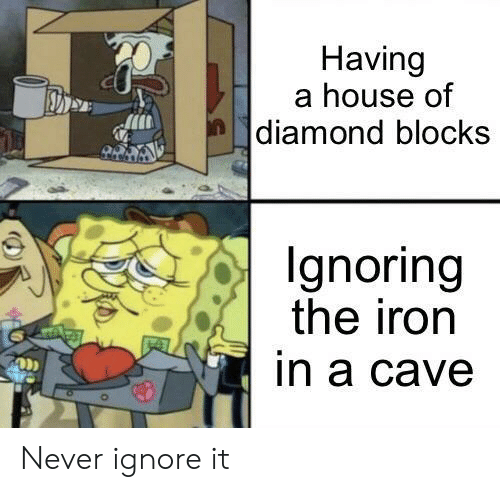 Diamond, House, and Never: Having  a house of  |diamond blocks  Ignoring  the iron  in a cave Never ignore it