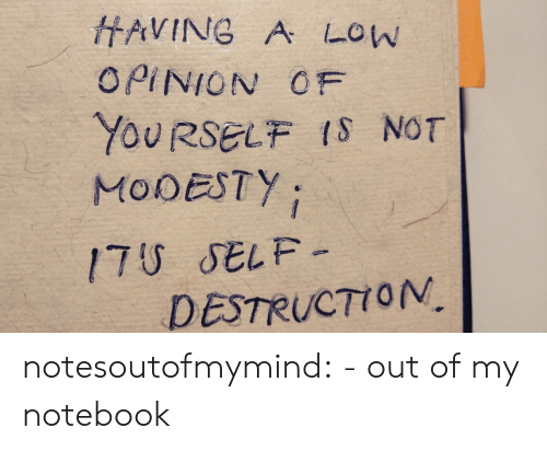 Notebook, Tumblr, and Blog: HAVING A LOW  OPINION OF  YOURSELF IS NOT  MODESTY  17U SELF-  DESTRUCTION notesoutofmymind:  - out of my notebook