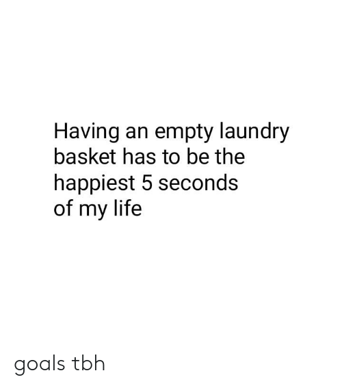 Dank, Goals, and Laundry: Having an empty laundry  basket has to be the  happiest 5 seconds  of my life goals tbh