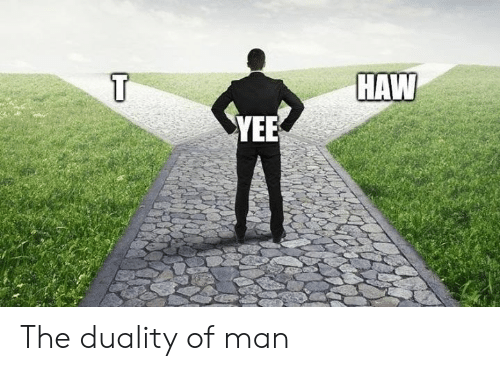 Yee, Dank Memes, and Man: HAW  YEE The duality of man