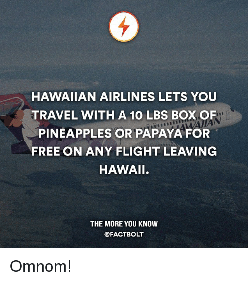 Pineappl: HAWAIIAN AIRLINES LETS YOU  TRAVEL WITH A 10 LBS BOXOF  PINEAPPLES OR PAPAYA FOR  FREE ON ANY FLIGHT LEAVING  HAWAII.  THE MORE YOU KNOW  @FACT BOLT Omnom!