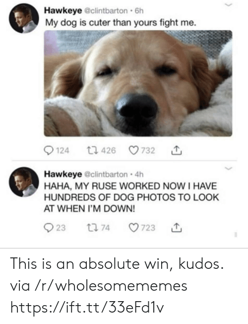 fight me: Hawkeye @clintbarton 6h  My dog is cuter than yours fight me  124  732  t1 426  Hawkeye @clintbarton 4h  HAHA, MY RUSE WORKED NOW I HAVE  HUNDREDS OF DOG PHOTOS TO LOOK  AT WHEN I'M DOWN!  23  t 74  723 This is an absolute win, kudos. via /r/wholesomememes https://ift.tt/33eFd1v