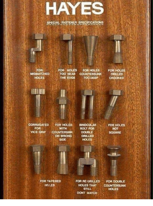 Holes, Match, and Square: HAYES  SPECIAL FASTENER SPECIFICATIONS  FOR HOLES FOR HOLES  FOR HOLES  MISMATCHED TOO NEAR  COUNTERSUNK 1DRILLED  TOO DEEP  CROOKED  CORRUGATED  FOR HOLES  BNocULAR  FOR HOLES  FOR  WITH  BOLT FOR  NOT  VICE GAP  COUNTERSINK DOUBLE  SQUARE  ON WRONG  SIDE  OR TAPERED  FOR RE-DRILLED FOR DOUBLE  HCALE  HOLES THAT  COUNTERSUNK  STILL  DONT MATCH